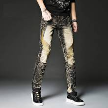 Джинсы с принтом золотых крыльев для мужчин, хип-хоп, мужские рваные джинсы с вышивкой, прямые джинсы с высокой талией, мужские Брюки Homme