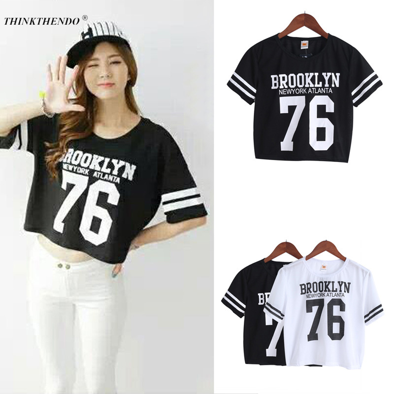 2018 New Fashion Crop Top T-shirt Ladies Crop Top Letter Impreso - Ropa de mujer