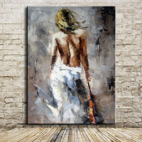 Large Sexy Girl Portrait Modern Abstract Nude Oil Painting On Canvas For Bedroom Acrylic Paintings Wall Art Picture Home Decor