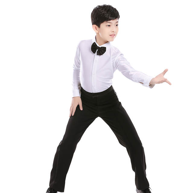6941d7e50fee placeholder White Boys Latin Dance Costumes Shiny Spandex Modern Ballroom  Tango Rumba Latin Shirts