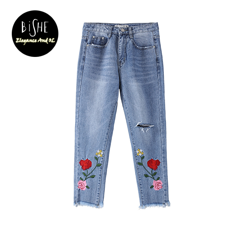BiSHE New 2017 Women Embroidery Flower Jeans Mid Waist Straight Pants Ripped Denim Bottom Pant Casual Femme Loose Trouser flower embroidery jeans female blue casual pants capris 2017 spring summer pockets straight jeans women bottom a46
