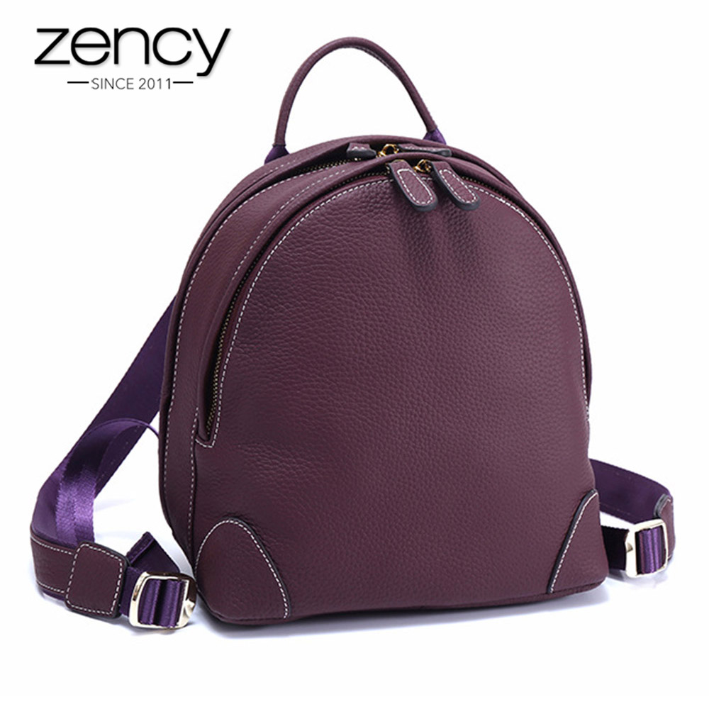 Zency Holiday Women Backpack 100% Genuine Leather Preppy Schoolbags For Girls Fashion Knapsack Casual Travel Bag Charm Purple