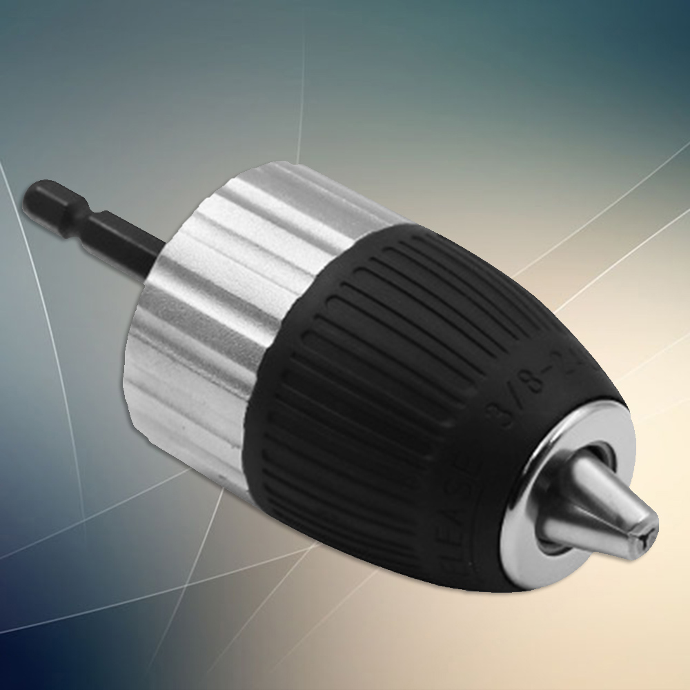 Self-Tightening Drill Conversion Chuck 1.5-13mm Clamping Range 3/8-24UNF With Hex Shank Threaded Post