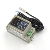 AC 90 250V 50~120'C 3 LED digital display Din thermostat with temperature sensor and English manual din temperature controller
