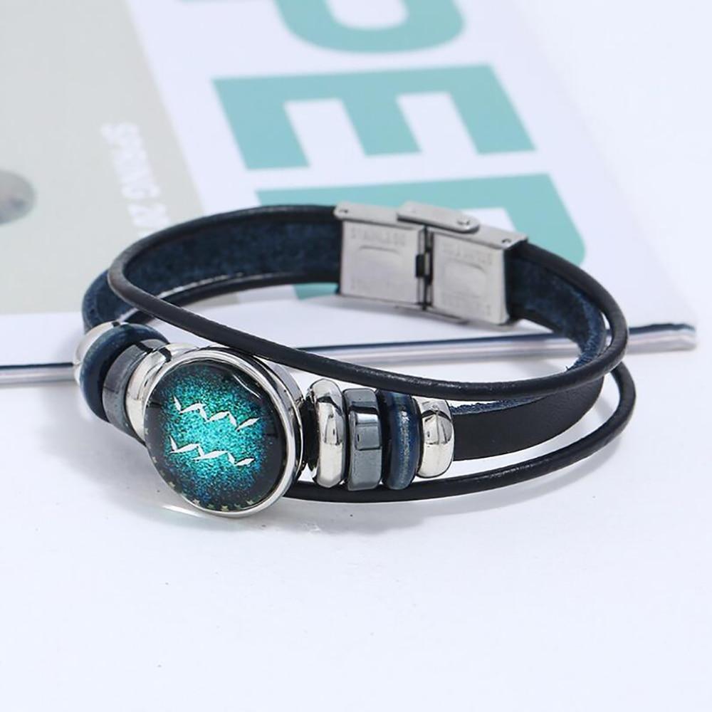 twelve constellations punk retro bracelet Retractable Beaded Bracelet leather for women  Student