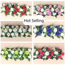 European simulation rose row wedding road guide arch decorative fake flowers opening ceremony studio props dress up flowers