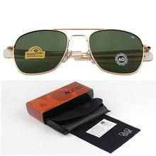 Moda óculos de sol dos homens do exército americano militar marca designer ao óculos de sol para masculino lente vidro óptico de sol rs263