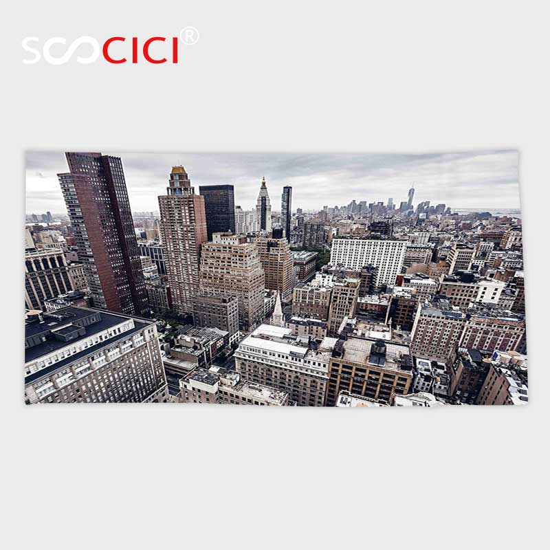 Custom Microfiber Ultra Soft Bath/hand Towel,Cityscape New York City American Metropolitan State Scenery Art Photo Charcoal Grey