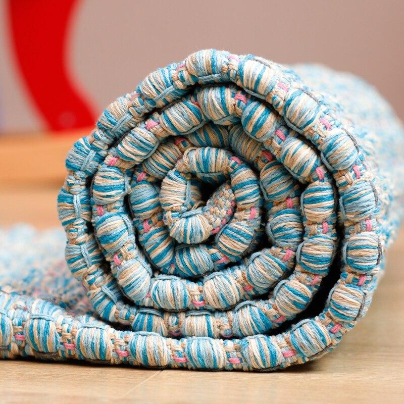 Tapis de zone de coton de bord tessel de conception bleue épaisse élevée pour le salon de chevet tapetes para casa sala tapis salon