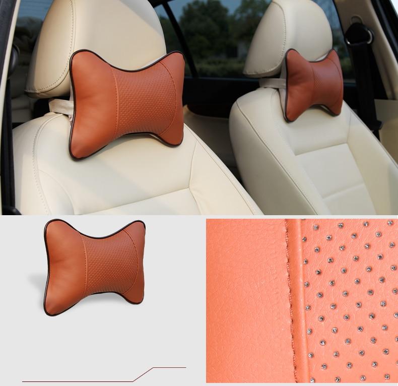 Karcle 2 PCS usnjene blazine za vrat v vratu vzglavniki dihalne - Dodatki za notranjost avtomobila - Fotografija 3