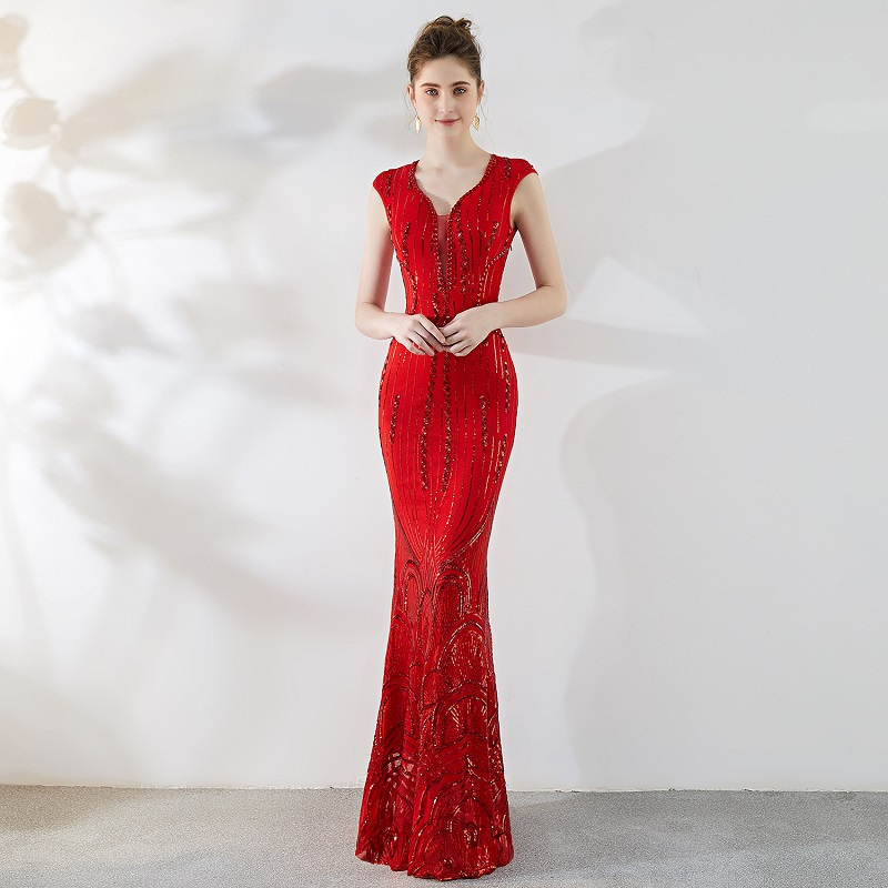 Red Sepuined Floor length V Neck Sleeveless Hot Sexy Formal Dress Women Elegant Party Dresses Cocktail Club Vestidos Verano 2018