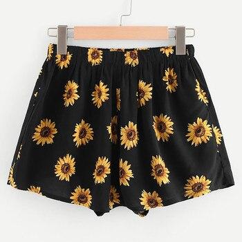 Pantalon Femme Pantalones Mujer Women Sexy Sunflower Print High Waist Shorts Casual брюки женские штаны Z4