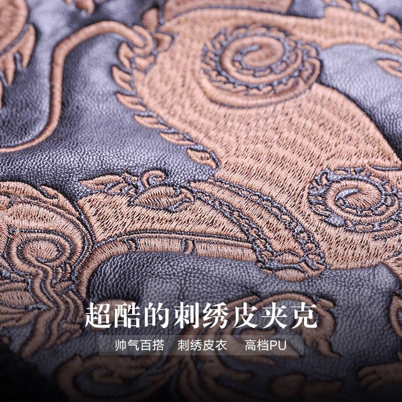 Livraison gratuite fanzhuan nouveau 2017 mode mâle hommes broderie en cuir motif animal style court homme veste en cuir synthétique polyuréthane 710165 hiver manteau - 3