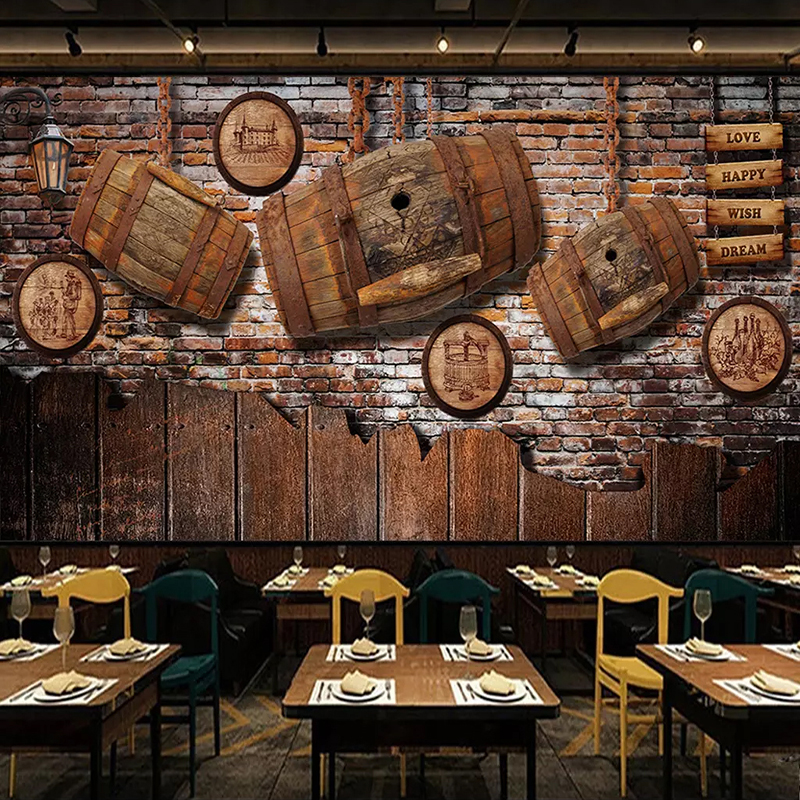 Us 838 54 Offphoto Wallpaper 3d Retro Red Wine Wood Mural Restaurant Bar Ktv Background Wall Covering Vintage Wall Papers For Walls 3 D Decor In