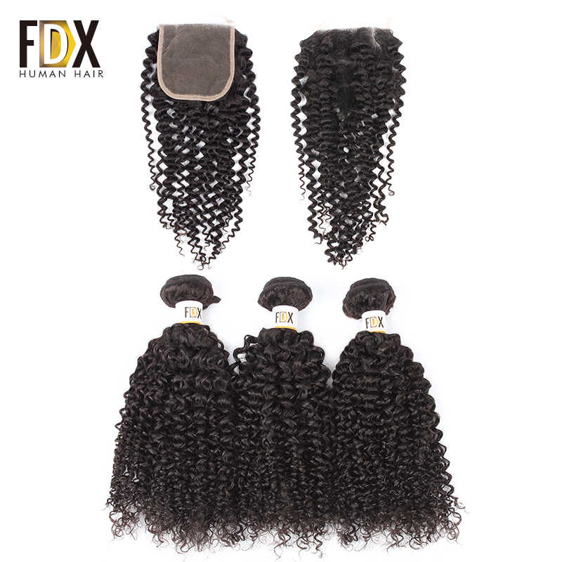 FDX Brazilian kinky curly bundles with closure Remy Human Hair Weave 4pcs deals 3 bundles with closure natrual black color
