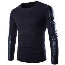 2016 Мужчины Новый Высокое Качество мужские Зимние Кожаные Рукава О-Образным Вырезом Пуловеры Свитер Черный Цвет