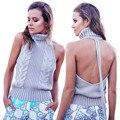 Novas Mulheres Da Moda Camisola Sem Encosto Colete Casuais Primavera Outono Gola Alta Sem Mangas Camisola Colete Blusa Top Curto Partido Clubwear