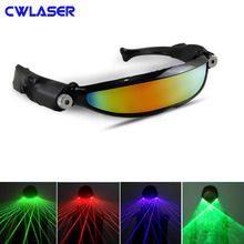 Laser Glasses with Two 100mW 532nm Green / 650nm Red / 450nm Blue Laser with Line Patterns Caps for Dancing, Parties and Shows