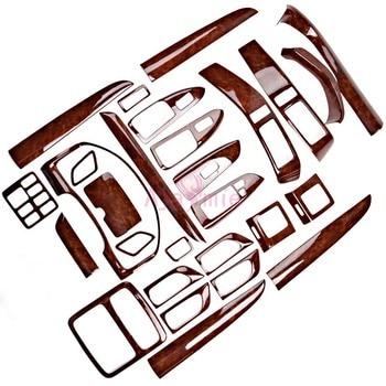 28 pcs Interior Wooden Color Trim Panel Frame Cover 2003-2009 Car Styling For Toyota Land Cruiser 120 Prado FJ120 Accessories wooden color door holder handle ac outlet dashboard trim lc 200 car styling 2016 2017 for toyota land cruiser 200 accessories