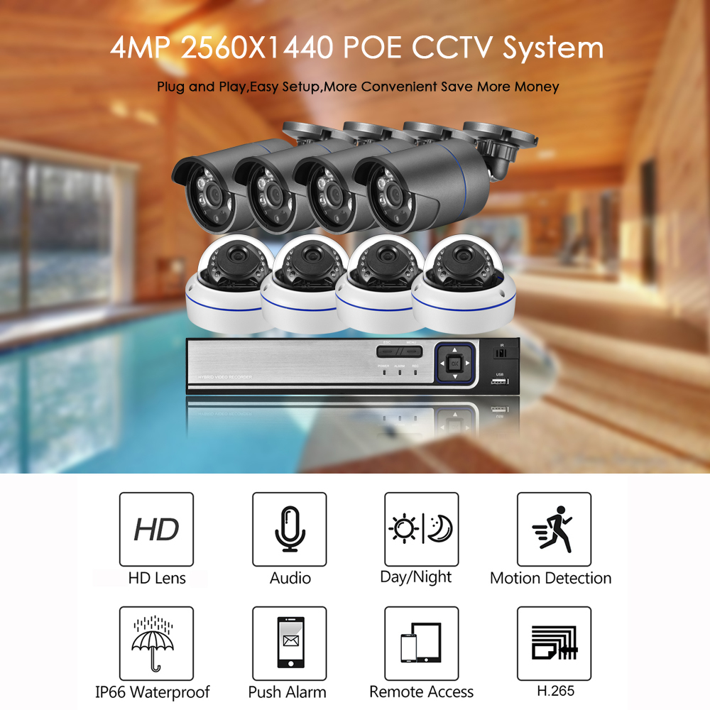 Image 2 - AZISHN H.265 8CH 4MP POE NVR Kit Audio Sound CCTV System 4.0MP Dome Security IP Camera P2P Indoor Outdoor Video Surveillance Set-in Surveillance System from Security & Protection