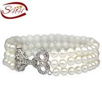 SNH 925 sterling silver fresh water triple pearl bracelet