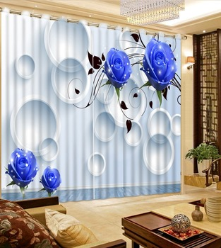 3D Curtain Photo Customize Size Living Room Circle Blue Rose 3D Window Decorative Curtains Blackout Curtain Fabric