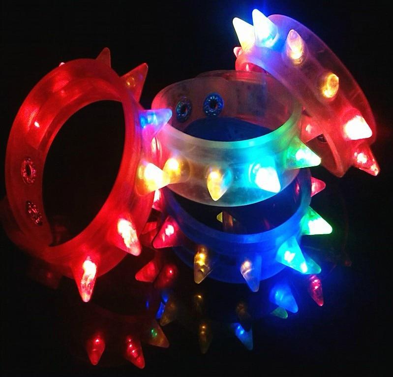 High quality Led Light Up Party Blinking Flashing Spike Bracelet Wedding Bar Rave Blinking Flashing Light Led