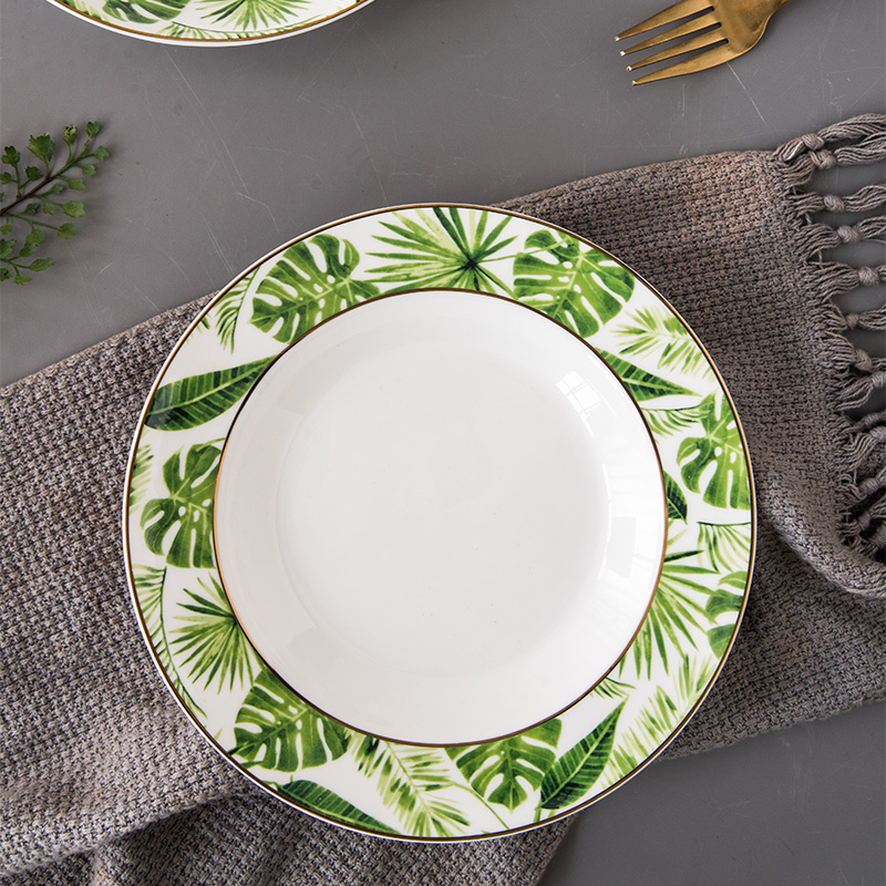 Tableware Dinner Plates Ceramic Dishes Bone China Green Plant Ceramic Plates Dinnerware Set