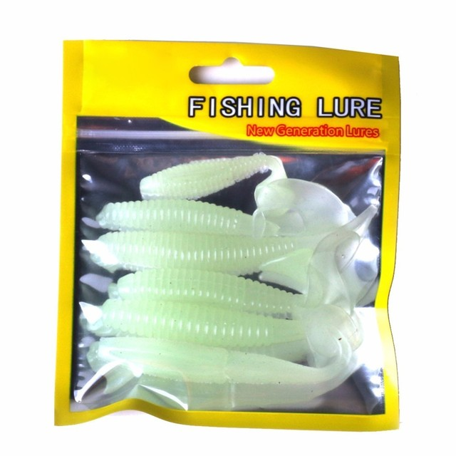 6pcs/lot Luminous Paddle Tail Soft Grubs Glow in Dark T Tail Lure Jig Head Soft Lure for Bass Fishing Mandarin Fishing 1