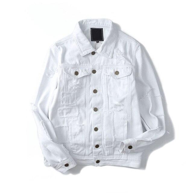 Ripped Denim Jacket Men Women Turn-down Collar Cotton Casual Mens Jackets Back Letter Printed Jacket Black White Man Clothing