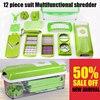 12 PCS Set Slicer Vegetable Grater Fruit Peeler Cutter Shredder Chopper With Guard Multi Functional Manual