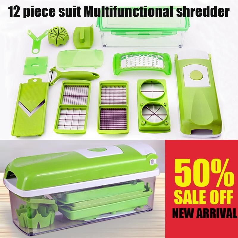 12 in 1 Multi-funzionale Grattugia di Verdure Cutter Set Contenitore Per Alimenti set Con Lame In Acciaio Inox Grattugie Trituratori Affettatrici