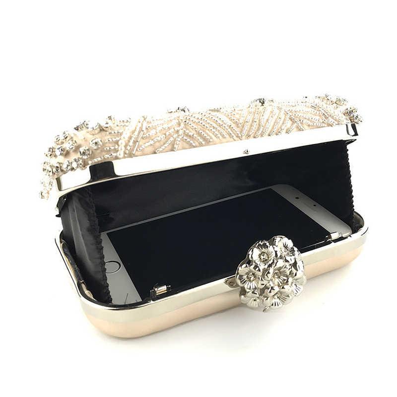 Женская сумка-клатч, ручная работа, с бусинами и жемчугом, высокое качество, для свадьбы, на цепочке, на плечо, ZD1083