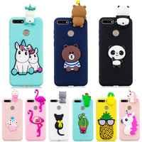 Huawei Ehre 7A Pro Fall auf für Coque Huawei Y6 2018 Fall Abdeckung 5,7 zoll 3D Einhorn Panda Puppe Spielzeug weiche Silikon Telefon Fällen