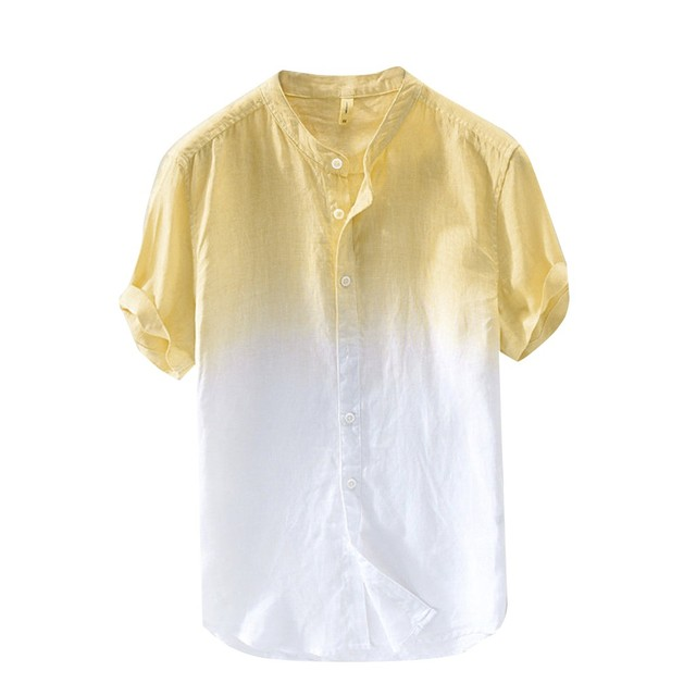 Men's Summer Thin T-Shirt Comfortable Breathable Stand Collar Gradient Linen Short Sleeve Loose Top Men's T-Shirt#10