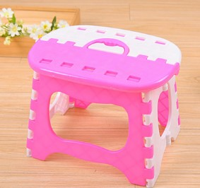 CAMMITEVER Blue Pink Portable Plastics Folding Stool Cartoon Ottomans Outdoors Fishing Study Dinner Children Stool