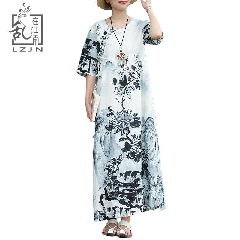 LZJN แบบดั้งเดิมหมึกจีนล้างภาพวาดยาวฤดูร้อน 2019 ผู้หญิงชุด Maxi แขนสั้น Qipao Cheongsam Vintage Robe-ใน ชุดเดรส จาก เสื้อผ้าสตรี บน   1