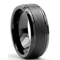 8mm Black Men S Cool Simple Tungsten Carbide Anniversary Finger Ring Male Big Wedding Band Comfort
