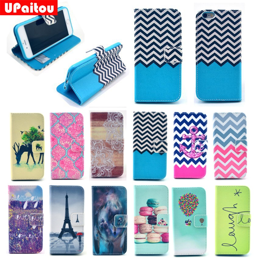 buy popular 39ec4 92ef9 US $3.99 20% OFF UPaitou Navy Blue Wave PU Leather Case for iPhone 4 4S 5  5S SE 5C 6 6S Plus Flip Wallet Case Silicone Cover for 6Plus 6Splus-in ...