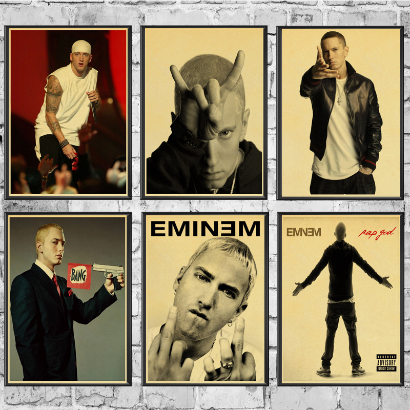 Vintage Singer Eminem Poster Good Quality Painting RetroPoster Kraft Paper For Home Bar Wall Decor/Stickers