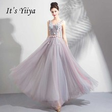 It s YiiYa V-Neck Sleeveless Evening Dresses Beading Pearls Flowers Backless  Lace Up Dinner Party 4043f71cdeaf