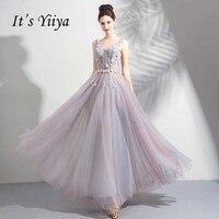 It's Yiya/Вечерние платья без рукавов с v образным вырезом, Украшенные бусинами и жемчужинами, с открытой спиной, на шнуровке, праздничный официа