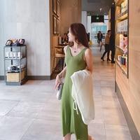 Knitted Suspender Dress Beach Style Sheath Sleeveless Female 2019 New Long Trim Thin Summer Vestidos De Fiesta Women Dresses