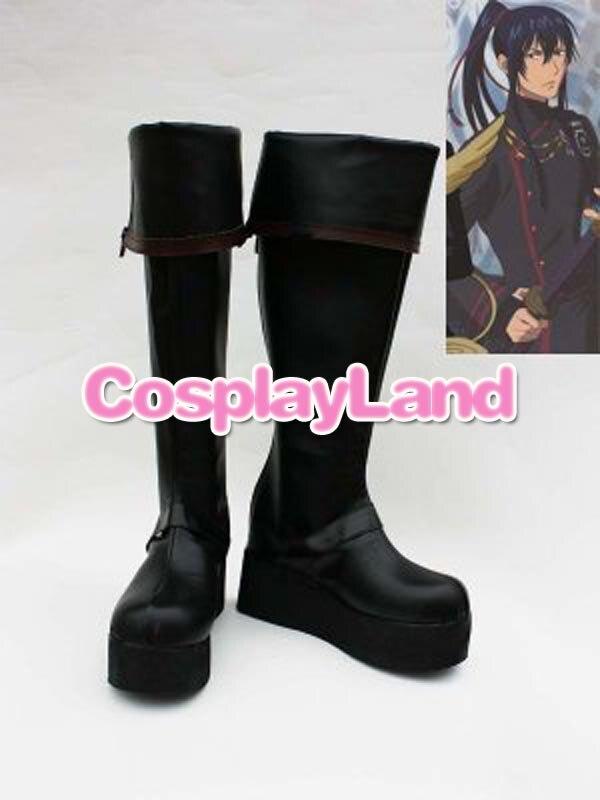D Gray-man Yu Kanda Zwarte Lange Cosplay Laarzen Anime Party Cosplay Tonen Laarzen Custom Made Voor Volwassen Mannen Schoenen Pure Witheid