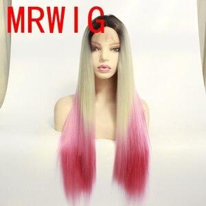 MRWIG corto de raíces oscuras ombre Rubio #613/Rosa largo recto sintético sin pegamento peluca frontal para Africanos Americanos