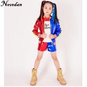Image 1 - Детский костюм для девочек с джокером, отрядом самоубийц, Харли Квинн, куртка, шорты, рубашка, комплект для детей, Харли Квин Пурим, костюм на Хэллоуин