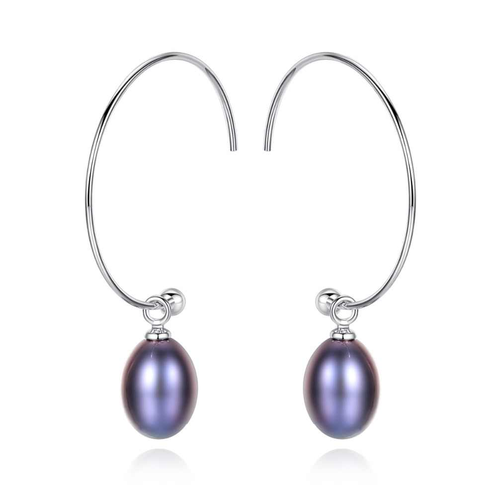 INALIS New Simple Elegant Big Ear Hook 925 Sterling Silver Natural Purple White Pearl Dangle Drop Earrings for Women Jewelry