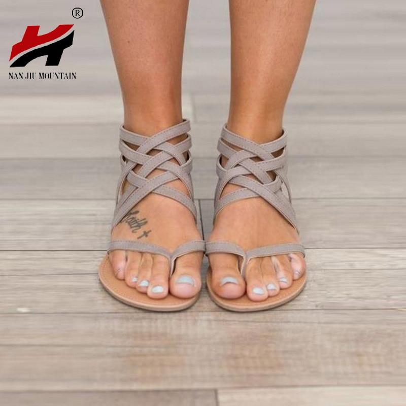 Плюс Размеры 34–43 Туфли без каблуков Летние женские сандалии 2017, Новая мода повседневная обувь для женщин Европейский Рим Стиль sandalias