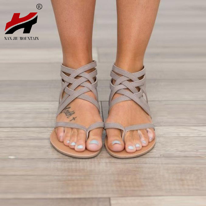 NAN JIU MOUNTAIN Shoes Woman Plus Size 34-43 Flats Summer Women's Sandals 2017 New Fashion Casual Shoes For European Rome Style 2018 new summer shoes women sandals comfy fashion casual flats sandals for woman european rome style sandalias