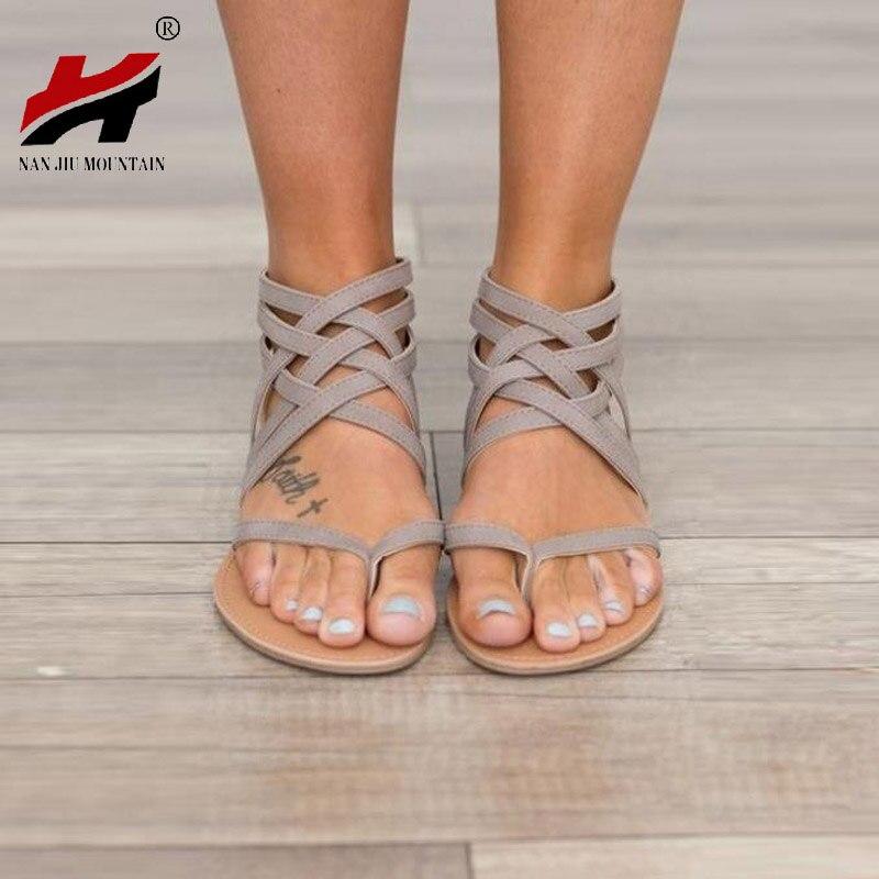 Plus Size 34-43 Flats Sandálias das Mulheres do Verão 2017 de Moda de Nova Roma Estilo Sapatos Casuais Para A Mulher Européia Sandalias